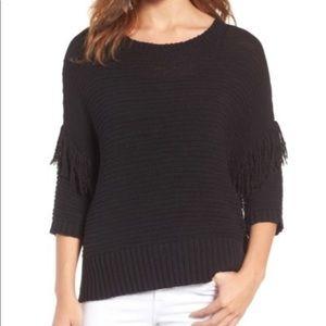 Rebecca Minkoff•Fringe Black Sweater•Size S